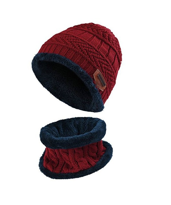 BUUFAN Chic Winter Beanie Outerdoor Hat Scarf Set Warm Knit Hat Thick Knit Skull Cap For Men Women - Wine Red - C01894HG3OL