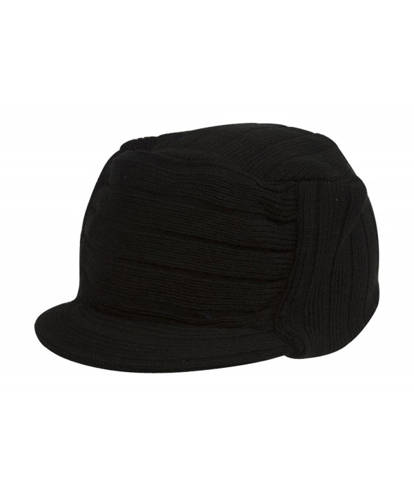 Black Commando Ribbed Flat Beanie Hat Cap Cadet - CV113PD1CS5