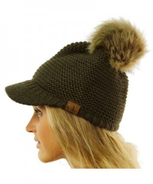CC Fur Pom Pom Visor Bill UV Sun Thick Stretchy Knit Beanie Skully Cap Hat - Olive - CP12KAN19OD