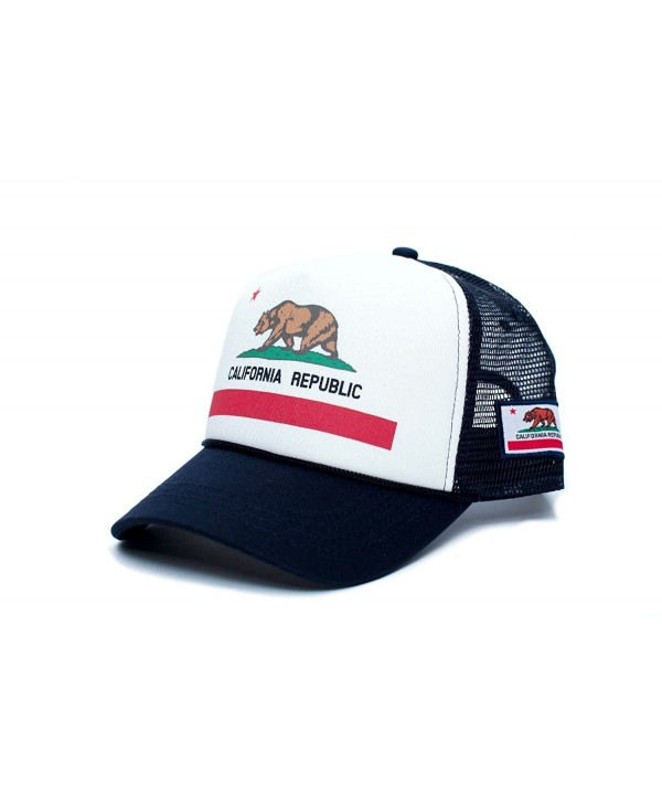 Califirnia Flag Custom California Republic State Flag Cali Unisex-Adult Trucker Hat Multi - Navy/White - CN12J1O9VYD