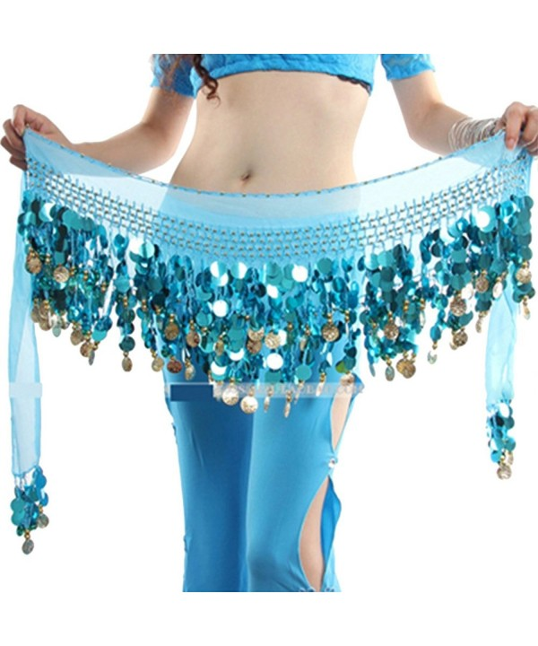 ESHOO Women Multi Colors Chiffon Belly Dance Hip Scarf Ruffled Coin Belt Skirt Hip Wrap - Blue - C912NS09J1E