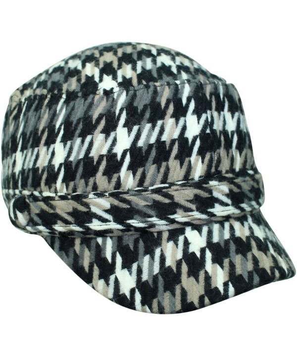 Luxury Divas Houndstooth Plaid Cadet Cap Hat - Black - C6117B5846V