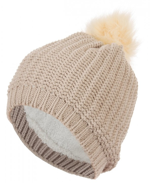 DRY77 Pom Pom Faux Fur Beanie Inner Hat Warm Winter Women Hot Cap Skull Knit - Beige 3 - CM1887D2C24