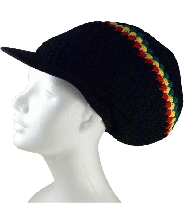 Rasta Dread Knit Tam Hat - Large Round Black/Red/Yellow/Green- with Brim - CD11YIYGY6P