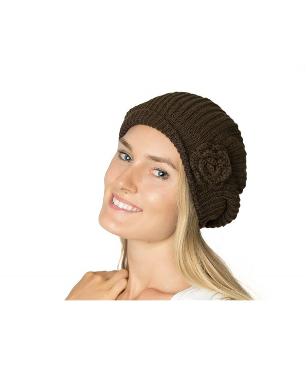 Accessory Necessary AN - Womens Fall Winter Ribbed Knit Beret Double Layers With Flower - Brown - CR126OIA2ZZ
