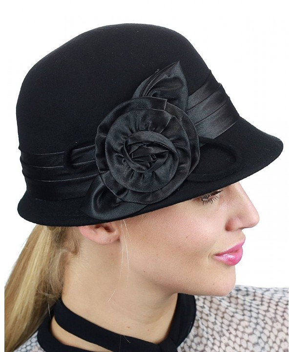 NYFASHION101 Women's Satin Band Flower Accent Wool Felt Bucket Cloche Hat - Black - CZ11Q2S207R