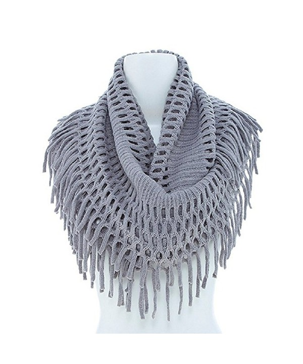 New Design Fringe Knitted Crochet Cutout Infinity Scarf V241 (Light Gray) - C2129SXZ88F