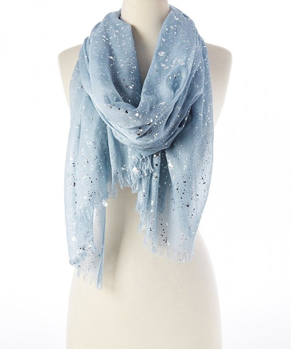 Women Lightweight Soft Cotton with Metallic Silver Splash Shawl Scarf / Abstract Scarf / Windowpane Scarf - Gray - CV11Z4K816X