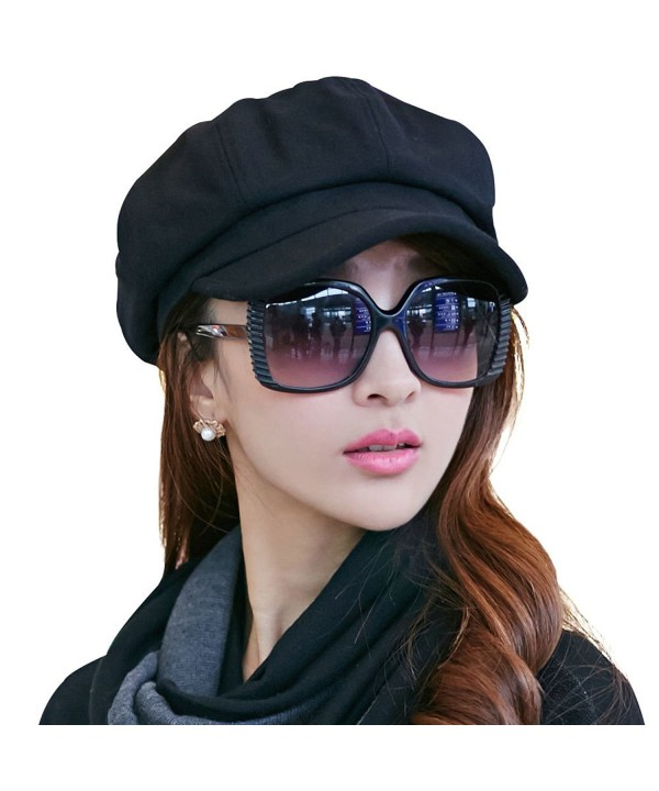 SIGGI Womens Visor Beret newsboy Hat Cap For Ladies Merino Wool - 67145_black - C2128KSC0F3