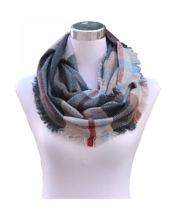 Lucky Leaf Women Girls Cozy Warm Thick Tartan Check Pattern Circle Loop Scarves - Light Grey Plaid - CL185X7ZSYM