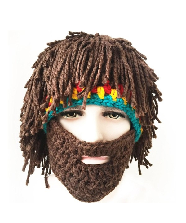 FUGUS Creative Knit Bearded Hats Handmade Beard Wig Warm Caps - CO187Q3G3H2