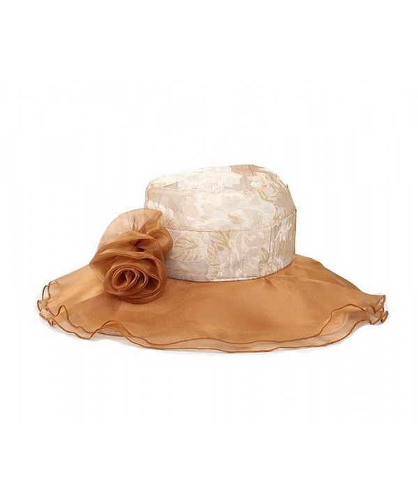Ladies Lace Cap Coffee Sun Hat Beach Hat Wide Brim Floppy Hat for women - CX11I5X8QPH