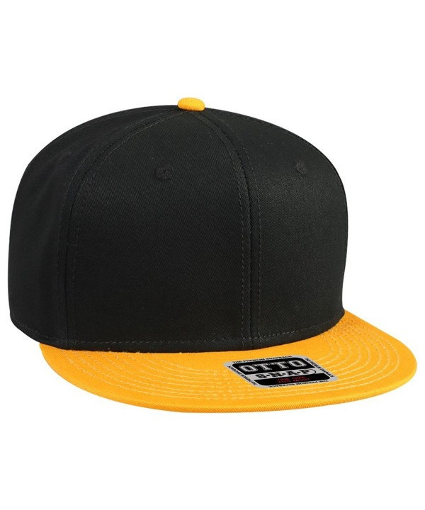 Otto Snap Cotton Twill Round Flat Visor 6 Panel Pro Style Snapback Hat - Gld/Blk/Blk - CR12FN5VYW1