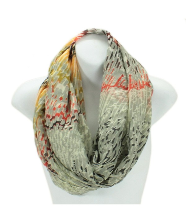 LL Lightweight Electric Coral Print Infinity Circle Scarf Snood Loop - Cream - CB11JYOSV0L