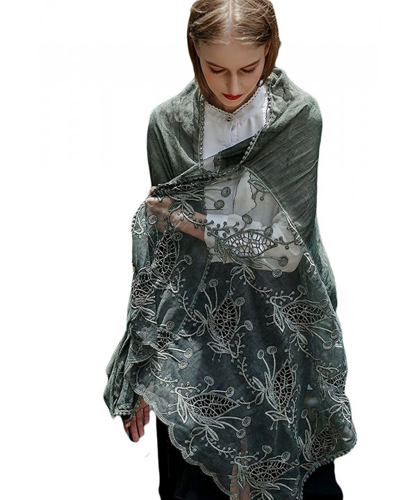 Women Large Shawl Wrap Scarf In Solid Colors Spring Winter Soft Lightweight Lace Flowers Scarves - Green Black - CA188E7HXEI