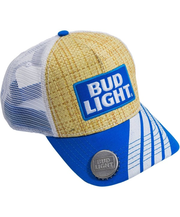 Budweiser Men's Bud Light Straw Baseball Cap With Bottle Opener Brim- Natural- One Size - CQ17X65IRHM