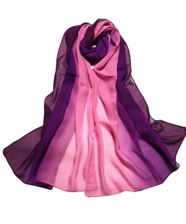 Fullkang Fashion Women Lady Gradient Color Long Wrap Shawl Chiffon Scarf - Purple - CC12HUGZPJJ
