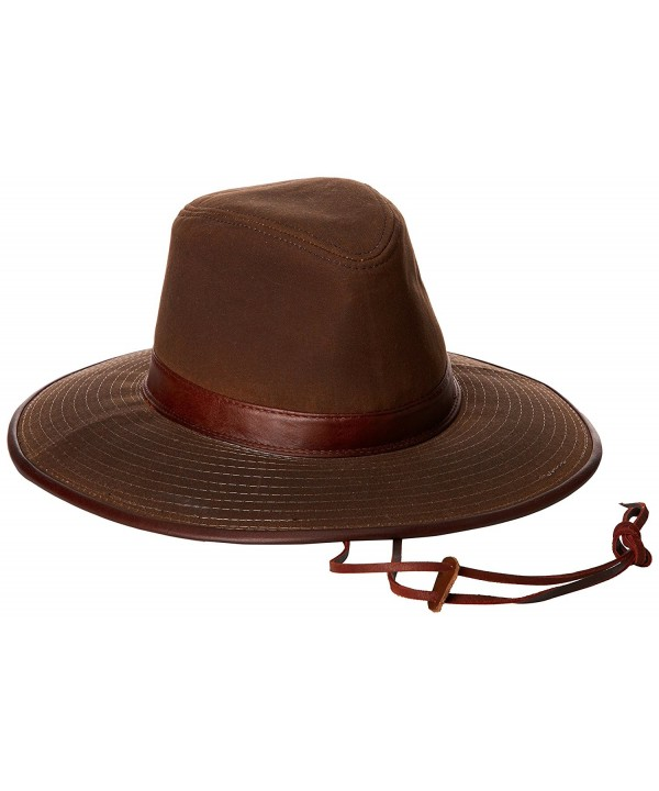 Dorfman Pacific Men's Oil Cloth Safari Hat With Leather Trim - Brown - C4112HKZHSD