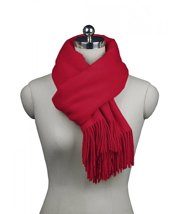 ADAMARIS Womens Long Solid Color Cashmere Scarf with Tassel Wrap Shawl - Red - CQ1853CH0EL