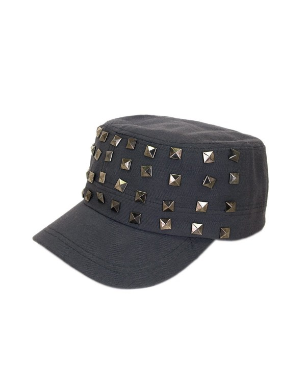 Adjustable Cotton Military Style Studded Front Army Cap Cadet Hat - Diff Colors Avail - Charcoal - CV11KUTXPFF