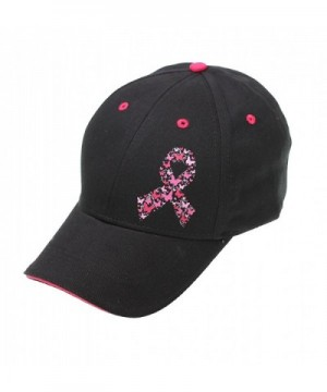 Bereast Cancer Awareness Pray For A Cure Distressed Pink Ribbon Gift Cap - Black - CZ12MZT0Z45