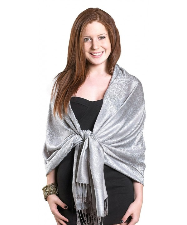 Gilbin Luxurious Paisley Design 28 x 70 Silk Blend Pashmina Shawl Wrap - Silver - CG11OCD1IJZ