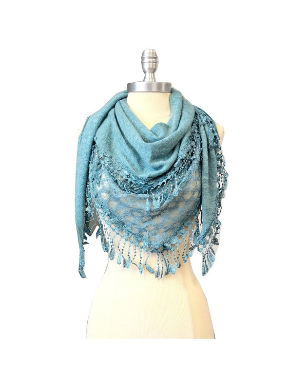 SCARF_TRADINGINC Triangle Knit & Lace Fashion Scarf - Aqua - CT11GFJMGPT