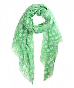Funky Junque's St. Patricks Day Green Shamrock 4 Leaf Clover Party Holiday Scarf - Green Small Clover - CW12O8V56UY