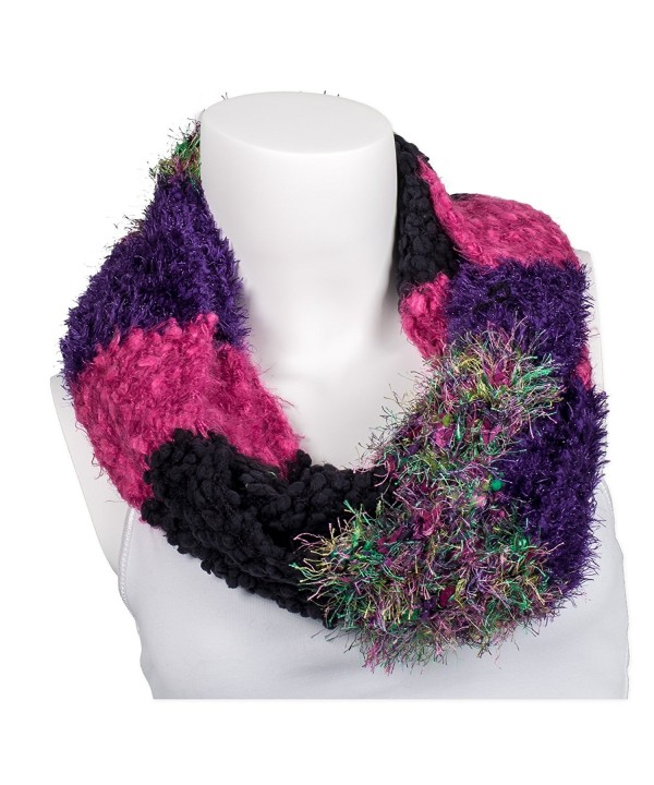 Snoozies Womens Thick and Soft Winter Knit Infinity Scarf - Jumble Knits - Fuschia/Purple - CY127DHLYHH