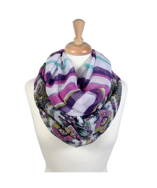 Scarfand's Ethnic Tribal Aztec Print Infinity Sheer Scarf Wrap Collection - With Stripes Purple - C41890OW46T