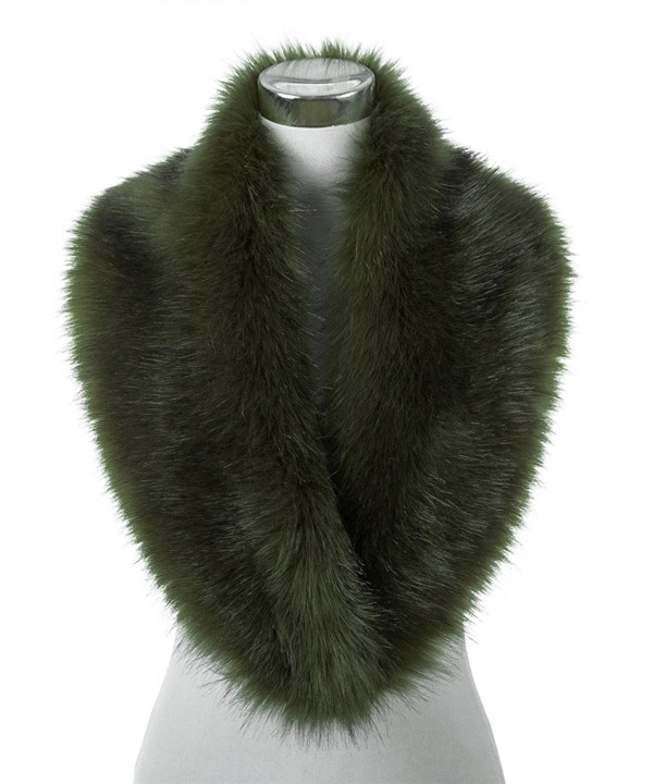 Lucky Leaf Women Winter Faux Fur Scarf Wrap Collar Shrug for Wedding Evening Party - Army Green With Black Apex - C9187HY2EL9