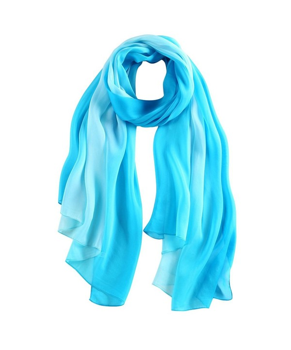 STORY OF SHANGHAI Womens 100% Mulberry Silk Head Scarf For Hair Ladies Scarf Gift for Valentine's Day - Blue - C212KIX08JX