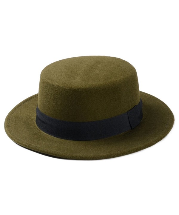 Elee Women Boater Hat Bowler Sailor Wide Brim Flat Top Caps Wool Blend - Army Green - CY184HHOXK5
