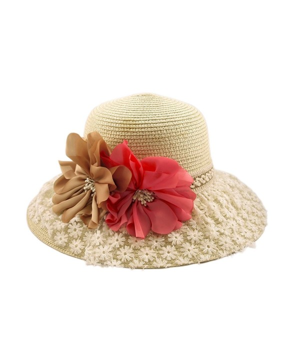 Princess Lace Flower Straw Sun Hat - Different Colors Available - Natural - CZ11DSBPPE1