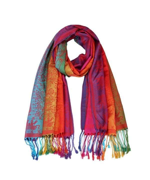 Tuscom Lady Women Double Sided Elephant Scarf Wrap Shawl (180x70CM) - Red - CV12O1EA2FW