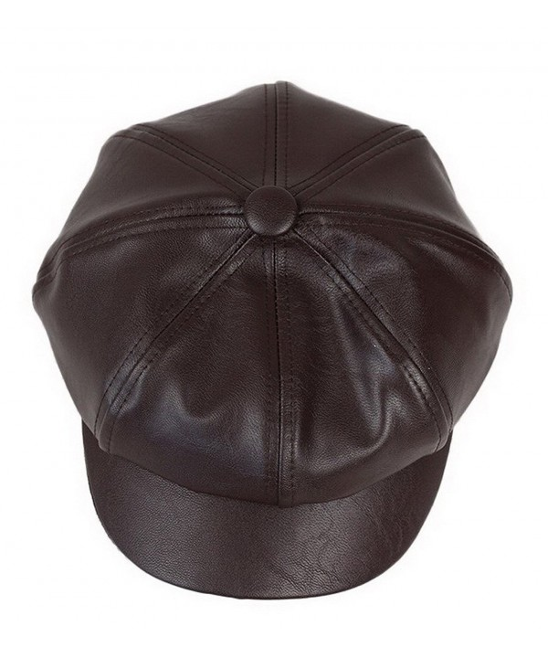 Bigood Women Fashion PU Leather Solid Ascot Ivy Newsboy Cap Berets Dark Brown - CU125BCKRUB