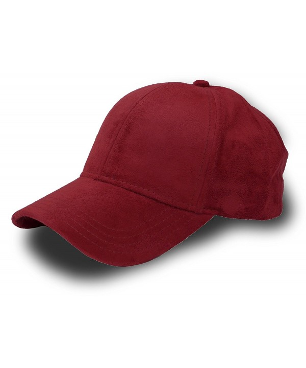 Fashion Faux Suede 6 Panel Adjustable Baseball Cap - Burgundy - CU12IJQVDQD