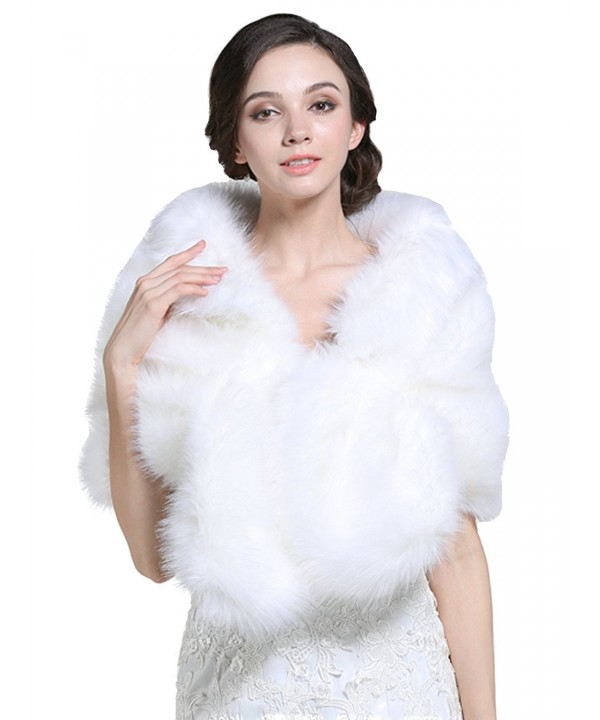 Bridalvenus Bridal Wedding Fur Wraps and Shawls with Clasp for Women and Girls - CH12MYO0X3X