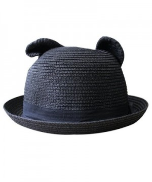 Women's Cute Cat Ear Round Top Bowler Straw Sun UV Summer Beach Roll-up Hat Cap - Black - CH12FK8AICR