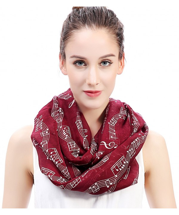 Lina & Lily Women's Musical Notes Print Infinity Loop Scarf - Dark Red - C411OWHI0K1