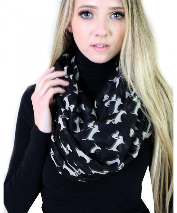 (6 COLORS) Bella Dachshund Doxie Dog Infinity Scarf- Women's Animal Print Loop Shawl - Black / off white - CA12HJWRAEL