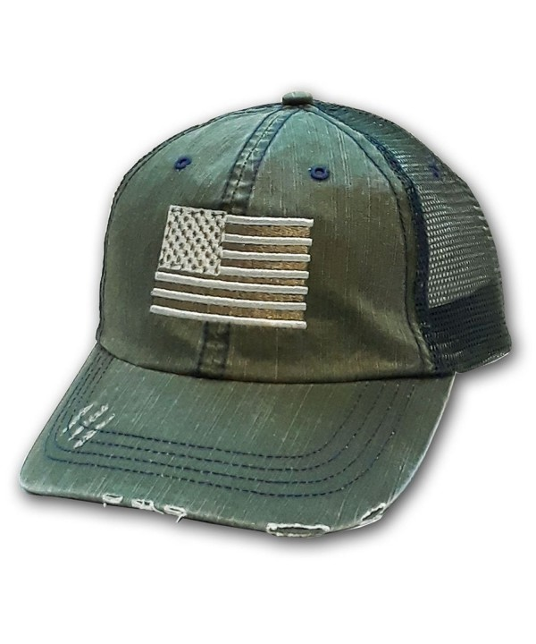 American Flag Distressed Cap - Free Flag Decal - Olive - CE12I4YDD6D