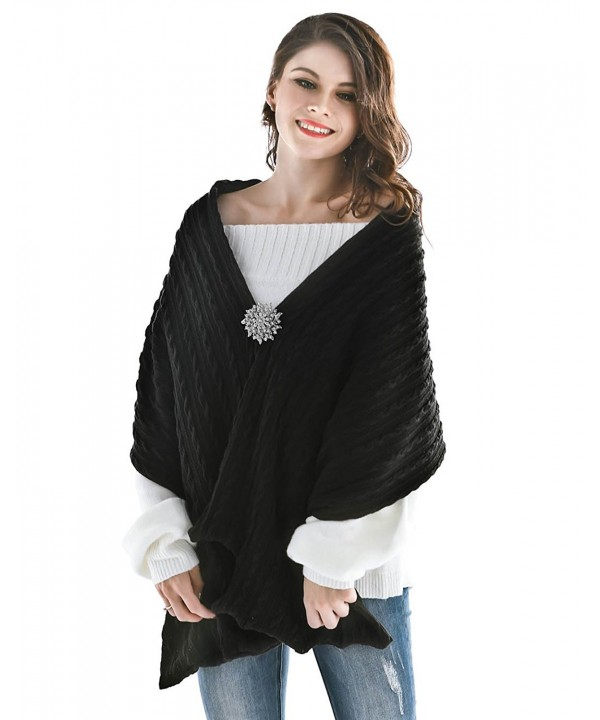 Aukmla Women's Knitted Scarf Pashminas and Shawls Poncho with Brooch - Black - CE186T0H6RL