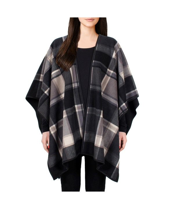 Ike Behar Ladies' Reversible Fashion Wrap - Taupe/Gray Plaid - CL12N0GE3Z5