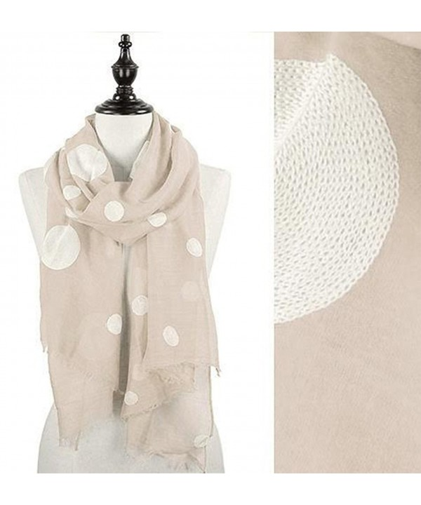 StylesILove Embroidered Polka Dot Wrap Scarf- 4 Colors - Taupe - CM12CJLMFPR