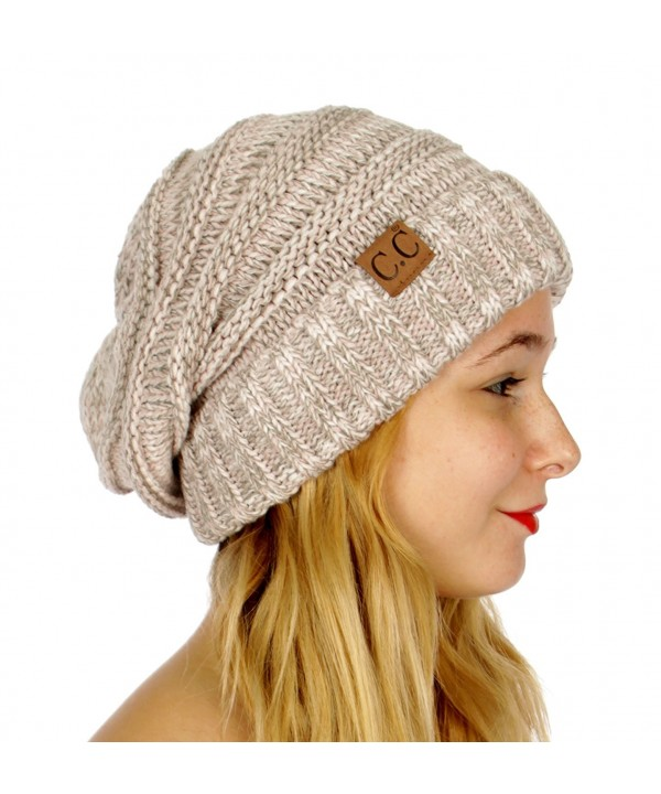 C.C Tricolor Oversized Slouchy Soft Cable Knit Beanie Hat - Rose - CB186GZWMLC