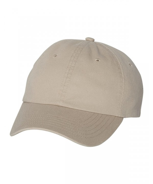Valucap VC350 - Unstructured Washed Chino Twill Cap with Velcro - Khaki - C811J95HMOL