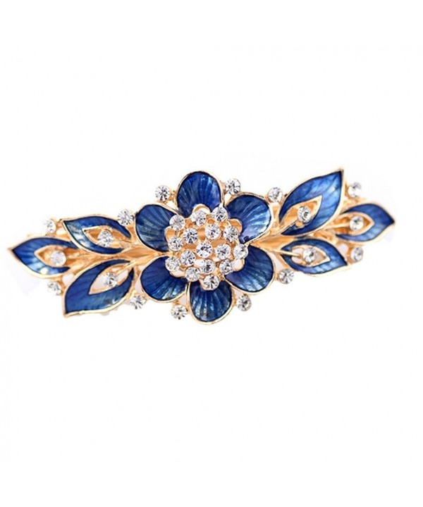 YAZILIND Gold Plated Bridal Hair Accessory Shinning Hair Barrette for Women Clips Hair Hairpins-Blue - CB183QUHKE0