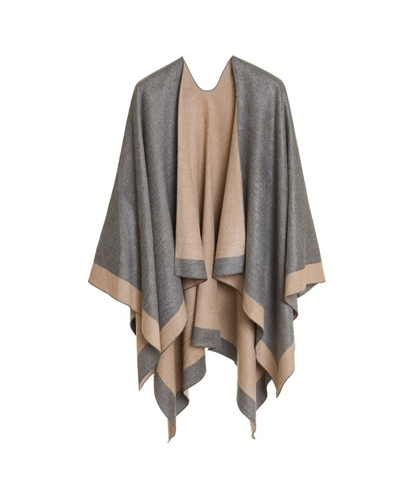 Cardigan Poncho Cape: Women Elegant Cardigan Shawl Wrap Sweater Coat for Winter - Light Gray Beige - CS18775ZYAO