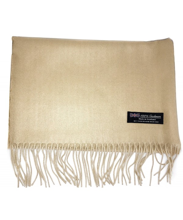 Ultra Soft Luxurious Cashmere Winter Scarf Made in Scotland Men Women Solid Plaid - Tan - CF188AC4W0H